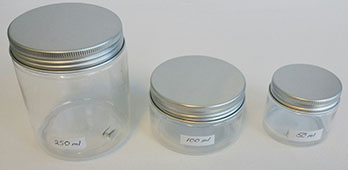 50ml,100ml & 250ml PET Jars with Aluminiun Lids.